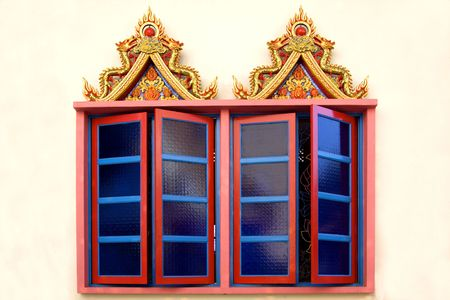 Windows of a Thai Buddhist Temple Stock Photo - 778277