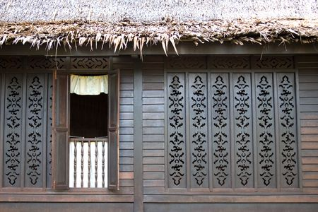 asian house plants: Facade of a Traditional Malay House