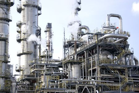 exhaust gases: Oil Refinery Stock Photo