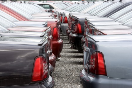 motorcars: Motorcar Stockyard Stock Photo