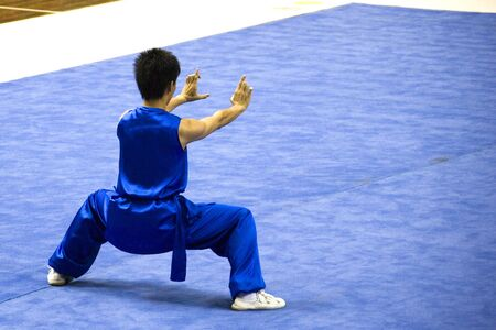 Chinese martial arts exponent in a Wushu competition. Stock Photo - 1815762