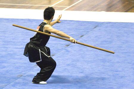 Arti marziali cinesi in un esponente Wushu concorrenza.  Archivio Fotografico - 1815774