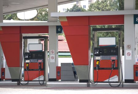 Image of petrol pumps at a gas station. Stock Photo - 1922150