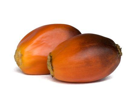 Aisladas macro imagen de frutos de palma aceitera. Las semillas de estos frutos se extraen y procesan en el aceite de palma. Foto de archivo - 1922042