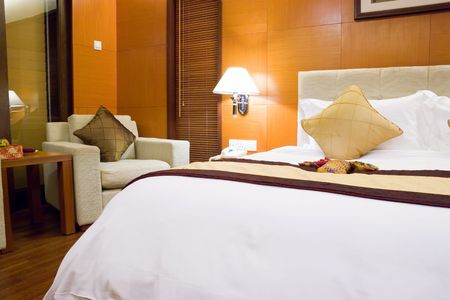 Image of a comfortable looking hotel bedroom. Stock Photo - 2816400