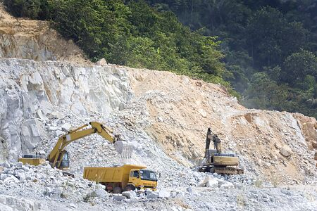quarry: Image of rock quarry works in Malaysia.