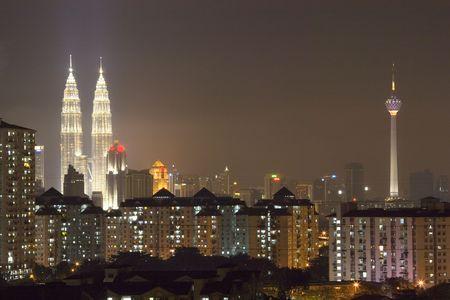 kuala lumpur city: Image of Kuala Lumpur skyline at night.