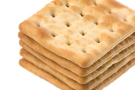 Isolated image of cream cracker biscuits.