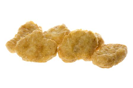 nuggets de poulet: Isolated macro image de p�pites de poulet frit.