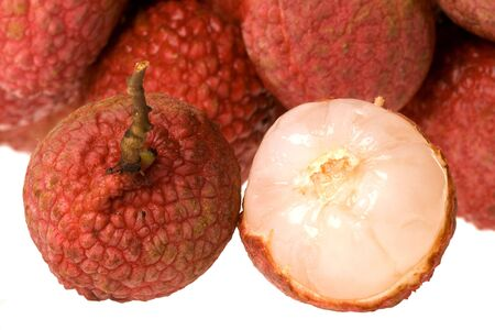 lychees: Isolated macro image of lychees.