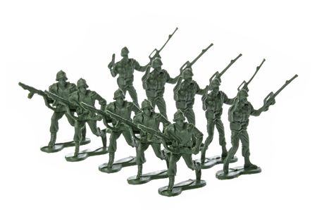 plastic soldier: Isolated image of toy soldiers. Stock Photo