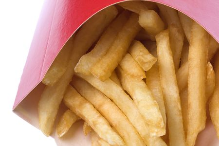 junkfood: Isolated macro image of french fries.