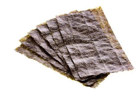 seaweeds: Isolated macro image of processed seaweed. Stock Photo