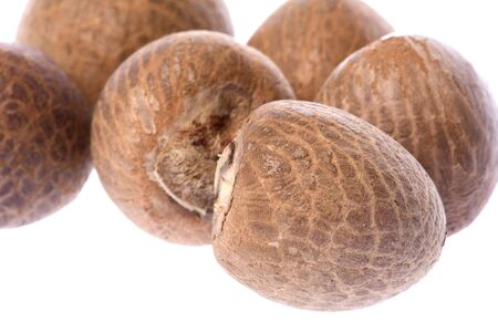 betelnut: Isolated macro image of betel nuts. Stock Photo