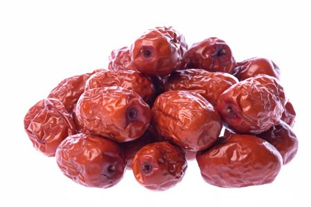 Isolated macro image of Chinese red dates.