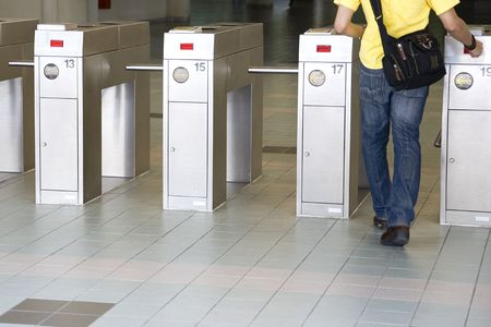 Image of automatic train ticket verification machines. photo