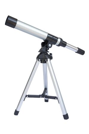 Image of an isolated silver and black telescope. Stock Photo