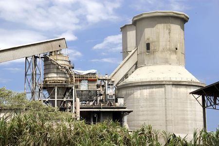 cement chimney: Image of part of a cement factory in Malaysia. Stock Photo