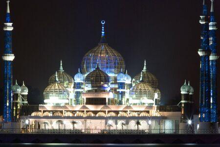 terengganu: Night image of the Crystal Mosque, located in Kuala Terengganu, Malaysia.  Stock Photo