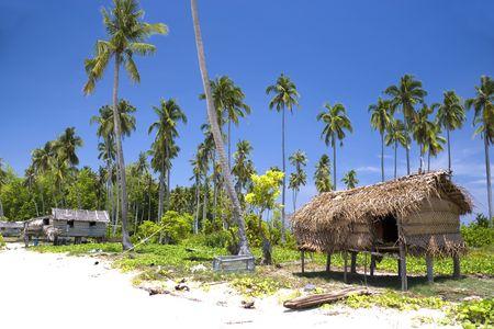 Imagen de la choza de un nativo en una isla tropical de Malasia. Foto de archivo - 3668740
