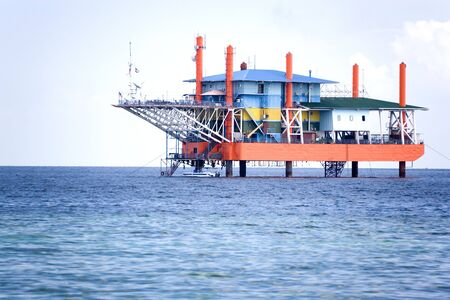 Image of a disued oil rig in Malaysia.