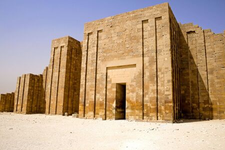 djoser: Image of the Perimeter Wall of the Step Pyramid of Djoser, Saqqara, Egypt.