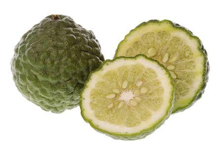 kaffir: Isolated macro image of a Kaffir Lime.