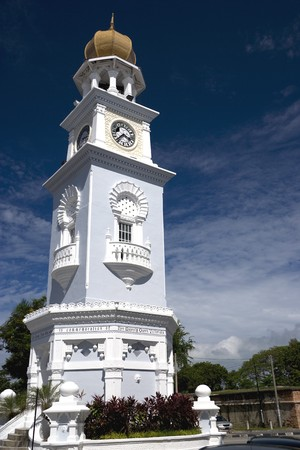 Centuries old Jubilee Clock Tower located at UNESCOs World Heritage site of Georgetown, Penang, Malaysia. It was built by a private citizen and was presented to celebrate Queen Victorias 1897 Jubilee. The clock tower is 60 feet tall, one foot for each y