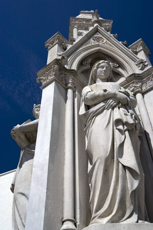 temperance: Statues of Justice found at the old courthouse building located at UNESCOs World Heritage site of Georgetown, Penang, Malaysia. Stock Photo