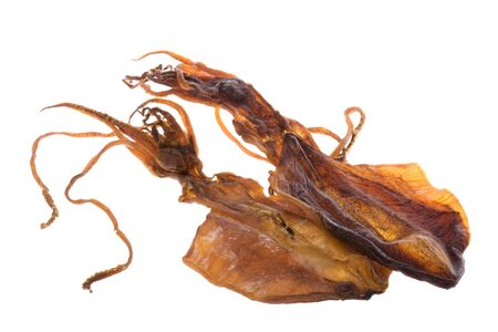 Isolated image of dried squids. Stock Photo