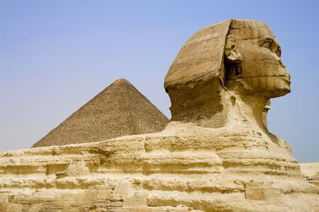 chephren: The Sphinx and The Great Pyramid of Egypt. Stock Photo