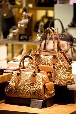 handbags: Image of a shop selling handbags and shoes in Malaysia.