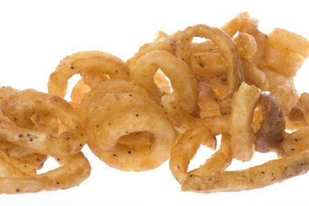 papas fritas: Aislado imagen de macro rizado franc�s fritas.