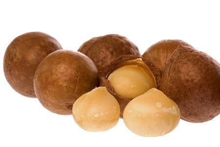 nutty: Isolated macro image of Macadamia nuts. Stock Photo