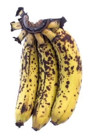 Isolated macro image of over-ripe bananas. photo