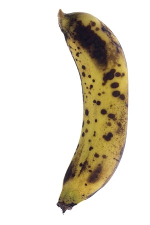 overripe: Isolated macro image of over-ripe bananas. Stock Photo