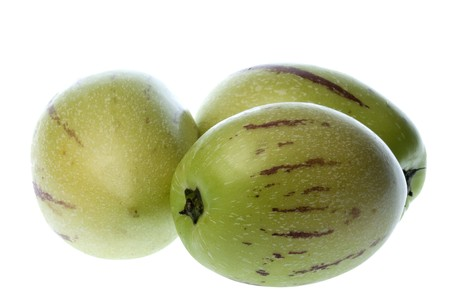 pepino: Isolated macro image of pepino dulce or melon pears. Stock Photo