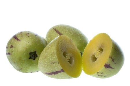 pepino: Isolated macro image of pepino dulce or melon pears. Stock Photo