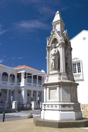 justices: Statues of Justice found at the old courthouse building located at UNESCOs World Heritage site of Georgetown, Penang, Malaysia. Stock Photo
