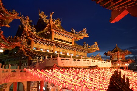 Image of a Chinese temple in Malaysia at dusk.