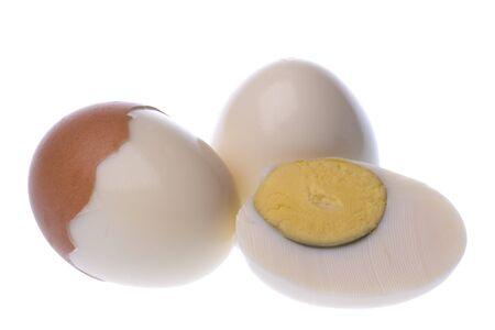 farmed: Isolated macro image of boiled chicken eggs.