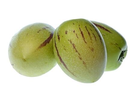 Aisladas macro imagen de pepino o melón dulce de peras.