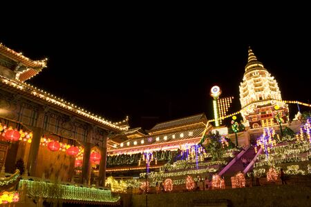 lighted: Image of the Chinese Kek Lok Si Temple in Penang, Malaysia, all lighted up for the Chinese Lunar New Year celebration on January 26, 2009.
