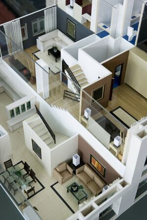 Image of an architects model house interior. Stock Photo