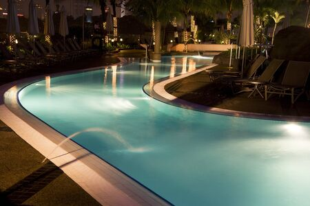 Night image of a swimming pool in Malaysia. Archivio Fotografico