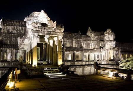 siem: Night image of the UNESCOs World Heritage Site of Angkor Wat, located at Siem Reap, Cambodia.