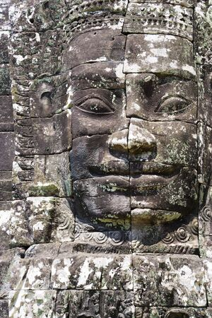 croft: Image of Buddhas face at UNESCOs World Heritage Site of Bayon, which is part of the larger temple complex of Angkor Thom, located at Siem Reap, Cambodia. This is one of the temples in Siem Reap where the Hollywood movie Lara Croft Tomb Raider was filmed