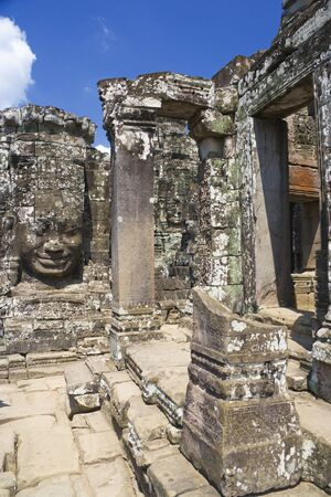 cambodia sculpture: Image of UNESCOs World Heritage Site of Bayon, which is part of the larger temple complex of Angkor Thom, located at Siem Reap, Cambodia. This is one of the temples in Siem Reap where the Hollywood movie Lara Croft Tomb Raider was filmed at.