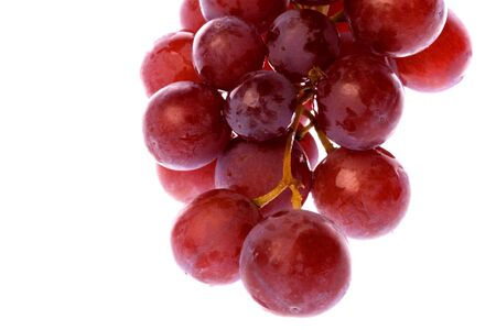 Isolated macro image of red grapes.