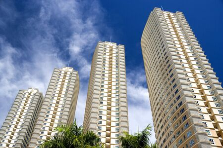high rise buildings: Image of modern hi-rise apartments in Malaysia. Stock Photo